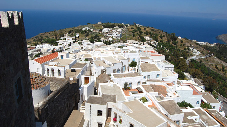 patmos town view overhead